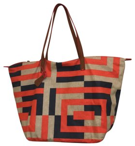 Anthropologie Tote in red blue
