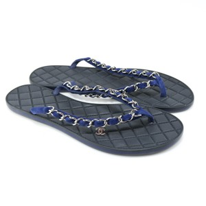 Chanel Flip Flops Chain Logo blue Sandals