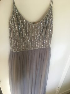 BHLDN Beige Underlay and Grey Tulle Laurent Formal Bridesmaid/Mob Dress Size 8 (M)