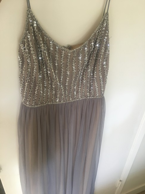 Item - Beige Underlay and Grey Tulle Laurent Formal Bridesmaid/Mob Dress Size 8 (M)