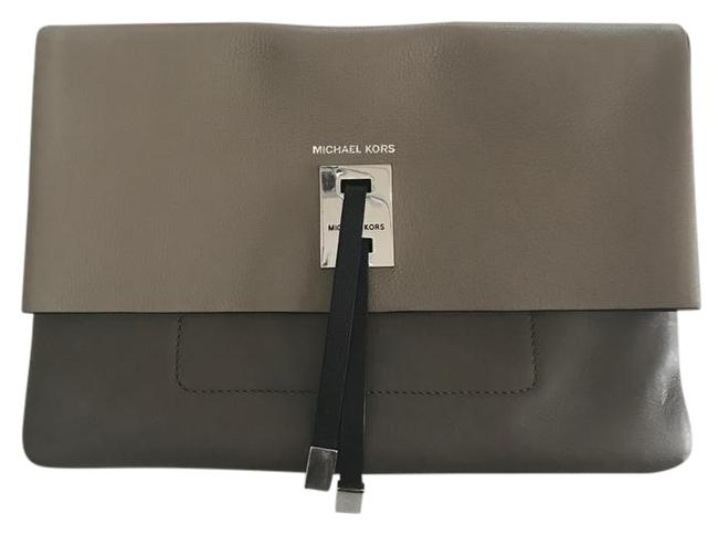 Michael Kors Collection Clutch Miranda Colorblock Clutch/Crossbody Brown/Taupe/Black Leather Cross Body Bag Michael Kors Collection Clutch Miranda Colorblock Clutch/Crossbody Brown/Taupe/Black Leather Cross Body Bag Image 1