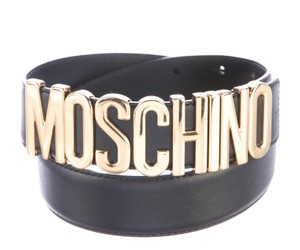 Moschino Black leather Moschino gold tone letter charms belt
