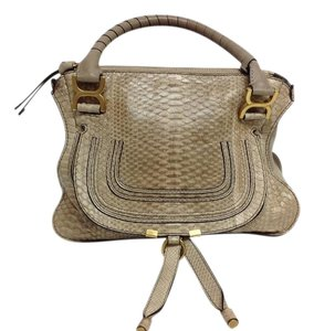 Added To Ping Bag Chloé Satchel In Beige Marcie Python