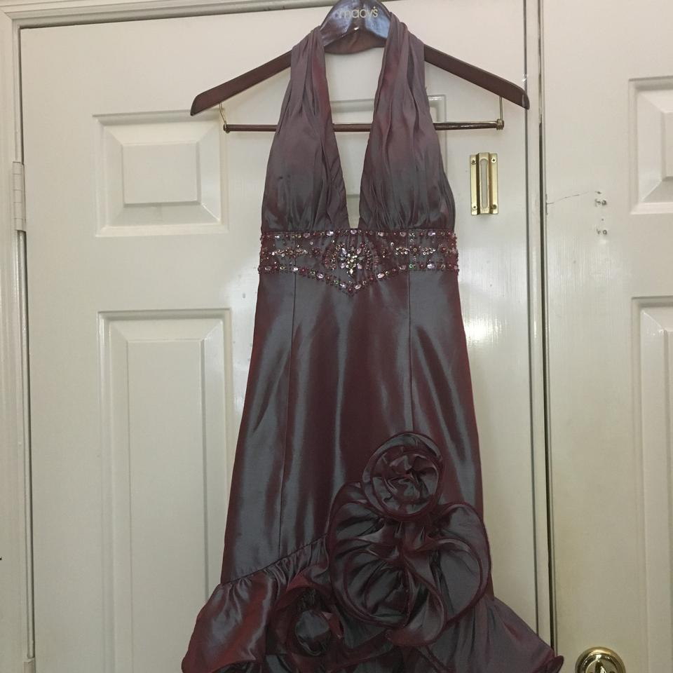 Bella Formals Winepurple High Low Ruffled Halter Gown Long Formal