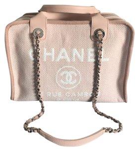 Chanel 31 Rue Cambon Canvas 2 Way Tote in Light Pink