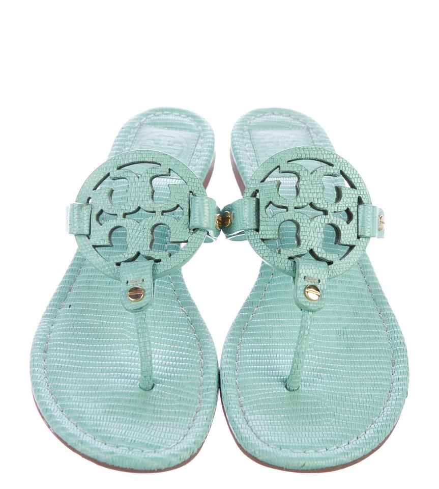 7d5dc1ee7d12 Tory Burch Gold Hardware Miller Reva Logo Textured Green Sandals Image 0 ...