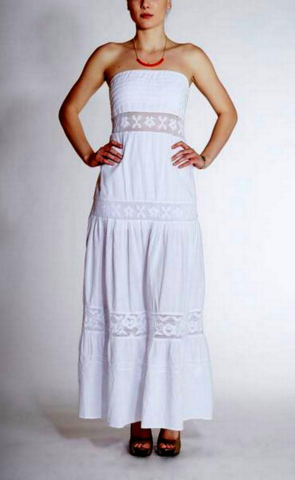 871ab0326e86 White Maxi Dress by Lirome Bohemian Cottage Chic Summer Sundress Crochet  Image 10. 1234567891011