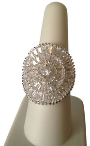 NWOT Large Statement Cubic Zirconia Baguette Ring, Size 8