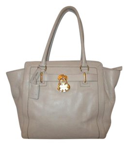 Emma Fox Leather Satchel Tote in beige