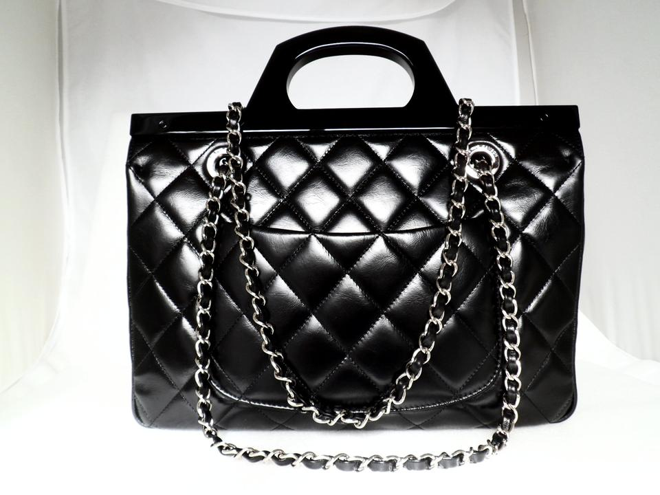 fbe09aeef5fe0f Chanel Small Cc Delivery Tote Quilted Glazed Black Calfskin Leather ...