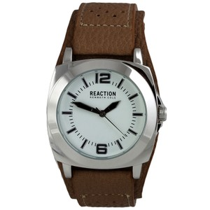 Kenneth Cole 10008537 Reaction Men's Brown Leather Band With White Dial