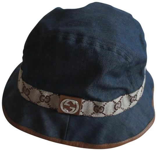 gucci blue beige brown slate denim interlocking gg logo bucket hat hats tradesy. Black Bedroom Furniture Sets. Home Design Ideas