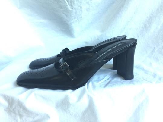 Via Spiga Buckle Smooth Leather Broguej Black Mules