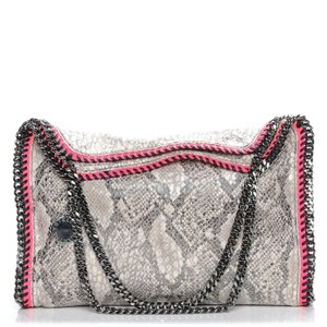 5931a792bed4 Stella McCartney Falabella Python Print Small Gray Pink Faux Leather Tote