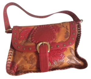 Isabella Fiore Leather Tote in Tan and red
