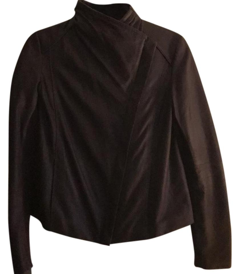 76a8df4bcdf7c T Tahari Leather And Knit Dark Plum Leather Jacket on Tradesy