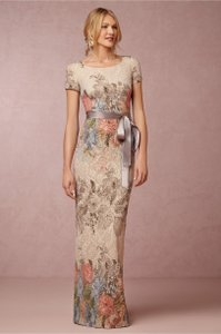 BHLDN Tan/Multicolored Poly-crepe; Acetate Lining Melinda Formal Bridesmaid/Mob Dress Size 4 (S)