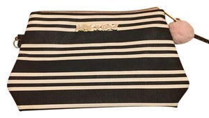 Betsey Johnson Striped Wrist Handle Black and cream Clutch
