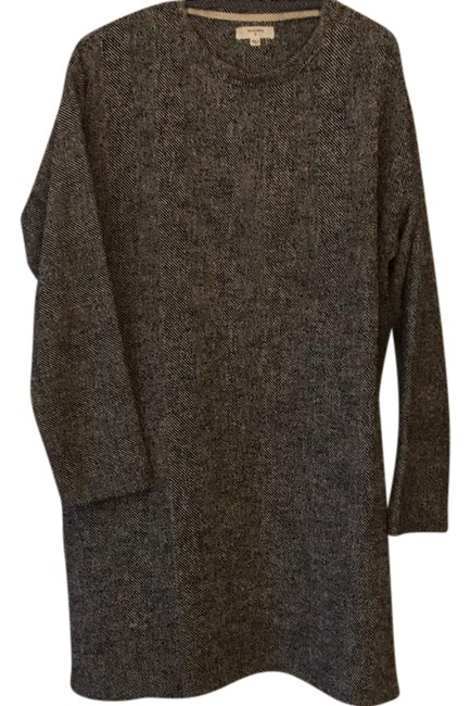 Item - Black White Grey Sweater Mid-length Short Casual Dress Size 6 (S)