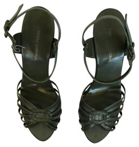 CoSTUME NATIONAL 37 Wooden Soles Duster Green Sandals