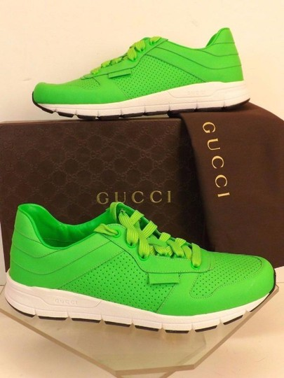 Gucci Green Mens Neon Leather Ipanema Lace Up 369088 Running Sneakers 7 Us 8 Shoes