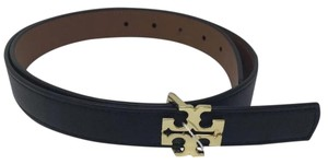 Tory Burch Tory Burch Reversible Black & brown Tigers Eye Leather logo Belt