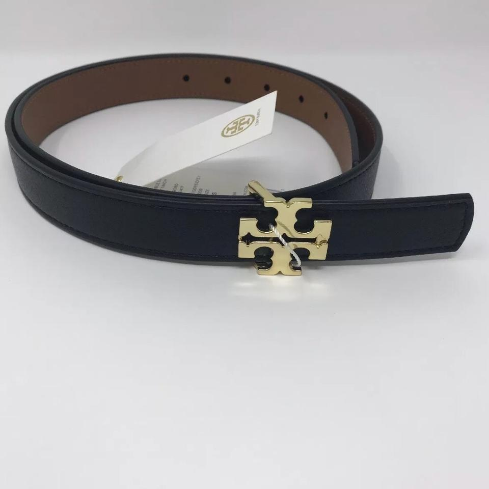 90c154e2b180 Tory Burch Tory Burch Reversible Black   brown Tigers Eye Leather logo Belt  Image 5. 123456. 1 ∕ 6