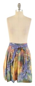 Moschino Pleated Cotton A-line Ribbon Mini Mini Skirt Multi-Color