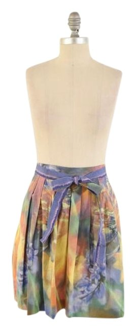 Moschino Pleated Cotton A-line Ribbon Mini Mini Skirt Multi-Color Image 0