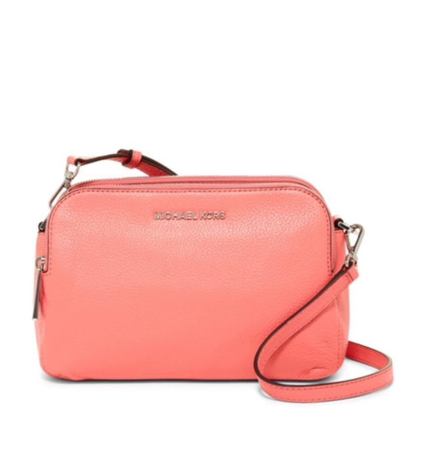 6554121768c9 MICHAEL Michael Kors Bedford Messenger Coral Leather Cross Body Bag ...