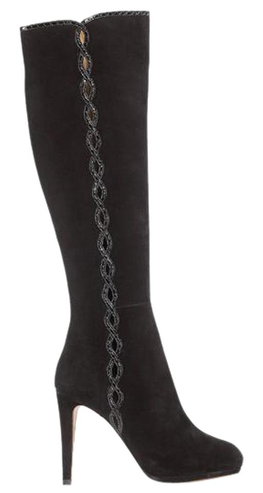 Elie Tahari 'barletta' Black Suede with Snake-embossed Leather Collection Trim Luxury Collection Leather Boots/Booties b69fd9