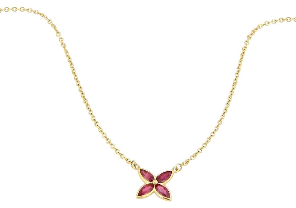 f9b9def3c Tiffany & Co. Victoria Ruby 18kt Yellow Gold Floral Pendant Necklace Image  0 ...