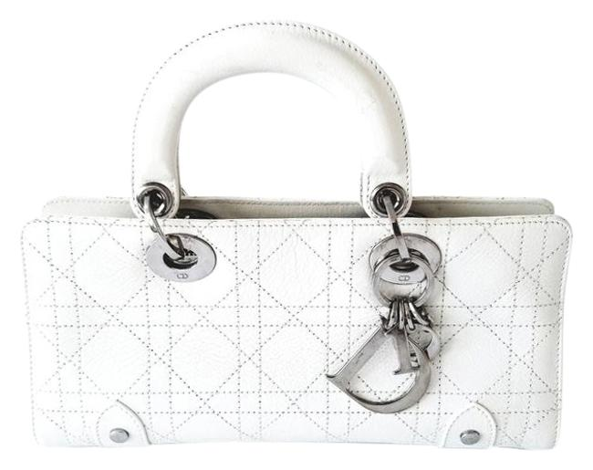 Item - East West Lady Cannage Stitched Of White Lambskin Leather Satchel