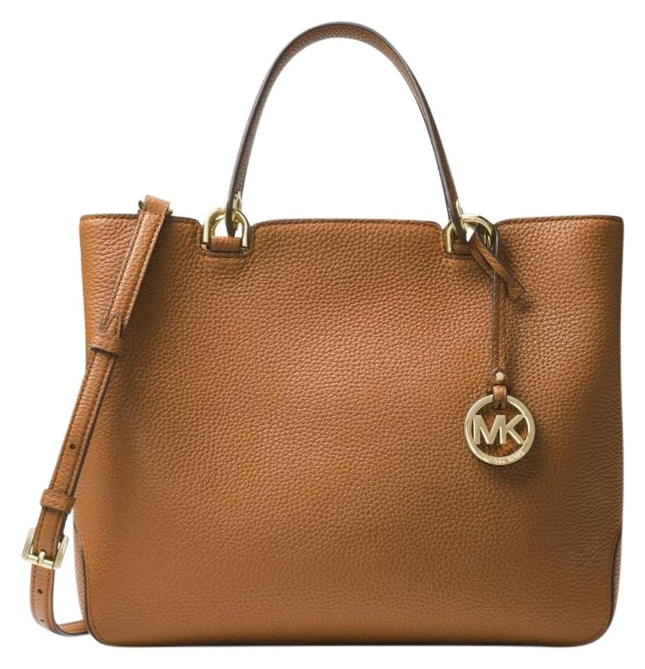 644fe1c237a39f Michael Kors Anabelle Large Satchel White Acorn Gold Leather Tote ...