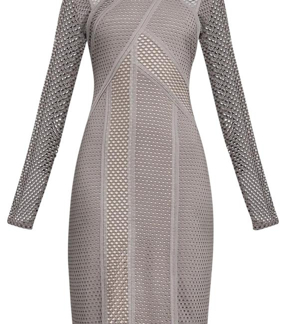 Item - Taupe - Purple Jaylynn Mesh Patchwork Mid-length Night Out Dress Size 8 (M)
