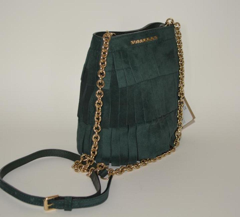3bc2c0d69108 Burberry Womens Fringe Bucket Purse Green Suede Tote - Tradesy