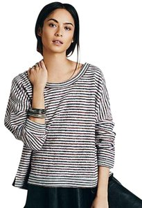 Free People Slouchy Dolman Sleeves Super Oversized Soft + Cozy Versatile Top Grey Blue Red