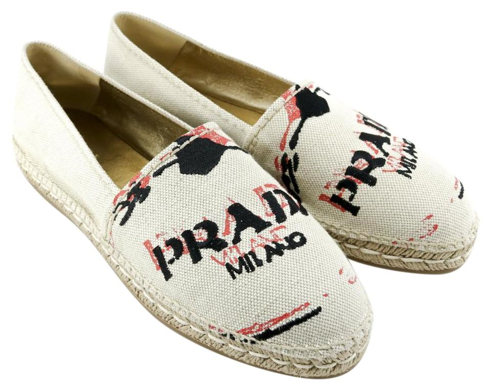 Prada Tan Logo Calzature Donna Logo Embroidered Logo Tan Espadrilles A344 Flats be09d2