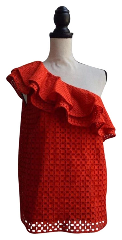 75551b177bb0a J.Crew Red One-shoulder Ruffle Eyelet Fiery Sunset Blouse Size 4 (S ...