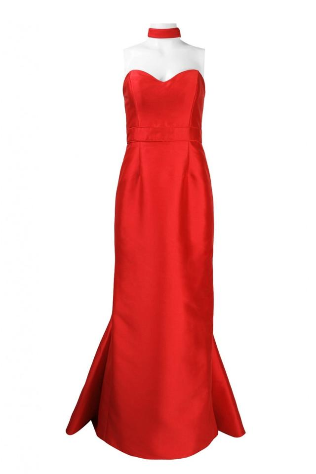 5a5263ab17 Theia Red Strapless Sweetheart Satin Mermaid Gown 882214 Long Formal ...