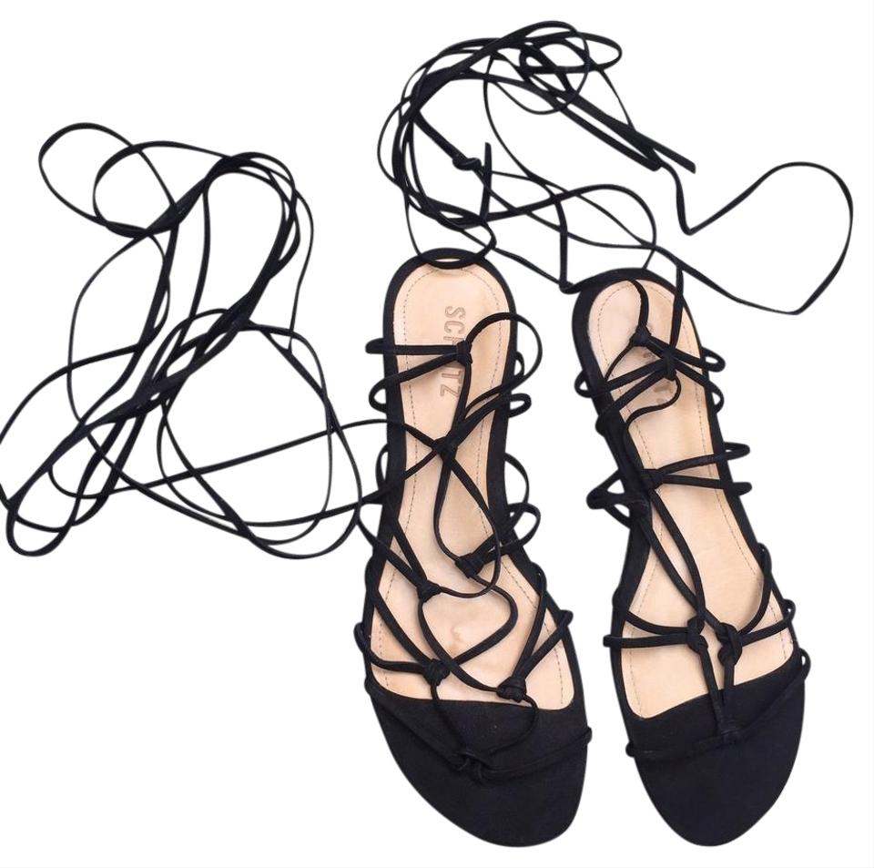 144e5f502fd SCHUTZ Black Suede Lace Up Flat Strappy Gladiator Sandals Size US 9 ...