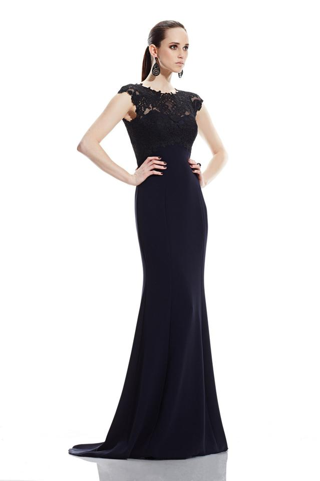 Theia Black Midnight Lace Bodice Cap Sleeve Gown 882417 Long Formal