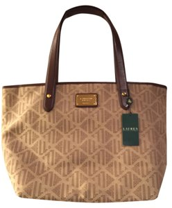 Ralph Lauren Monogram Tote in Khaki and brown