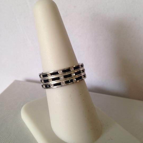 Other Black & Clear Cubic Zirconia 3-Row Band, Size 7