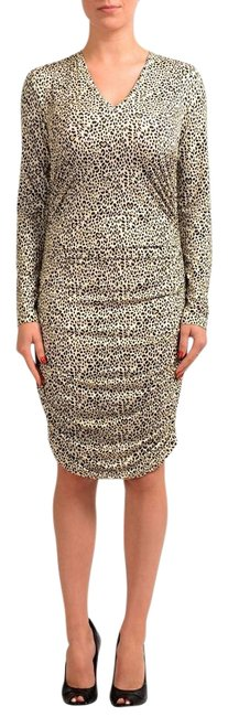 Item - Multi-color Leopard Print Long Sleeve Women's Stretch Bodycon Mid-length Short Casual Dress Size 4 (S)
