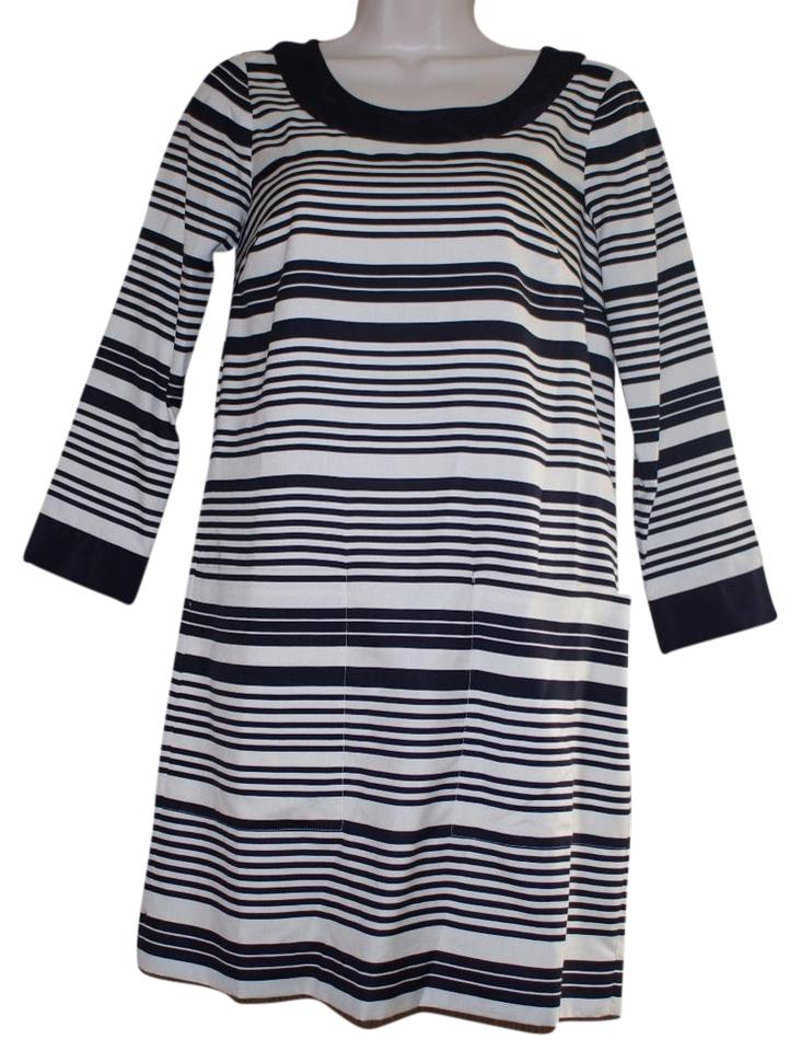 f655431acf3 J.Crew Navy White Silk 3 4 Sleeve Striped Short Cocktail Dress Size ...