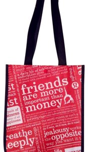 Lululemon Reusable Small Shopping Tote in Black Red