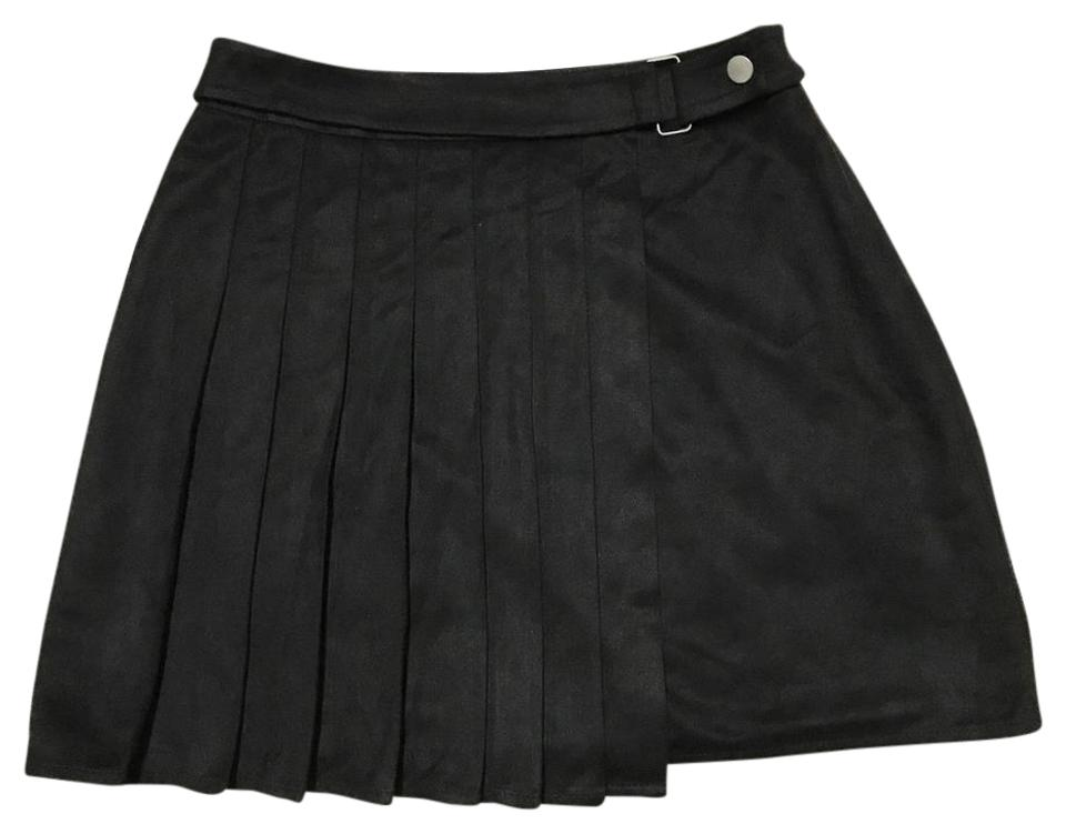 f6d45f8f59 Honey Punch Black Suede Pleated Wrap Boho Hippie Retro Skirt Size 4 ...