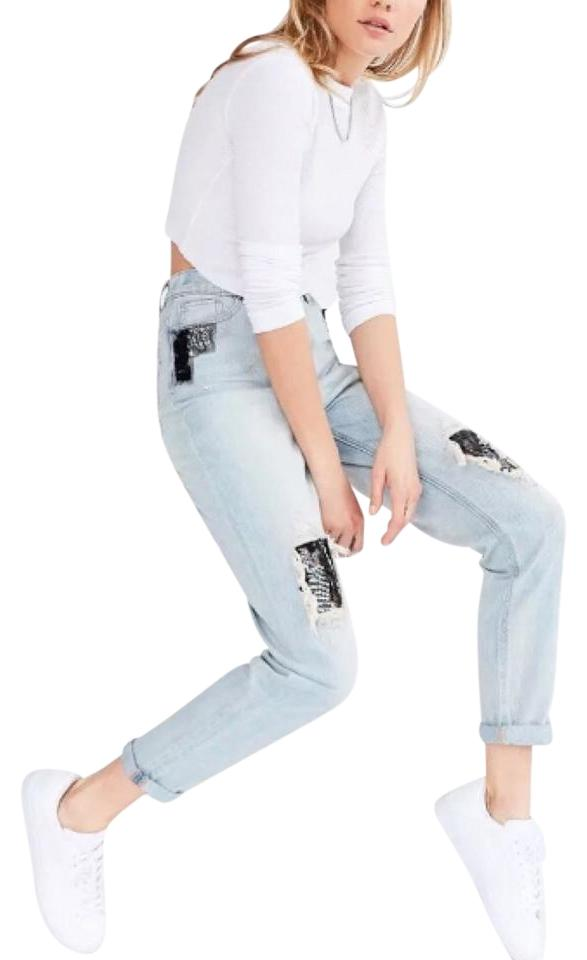 bea26d5b0d Urban Outfitters Blue Light Wash Bdg Sequin Patch Relaxed Fit Jeans ...