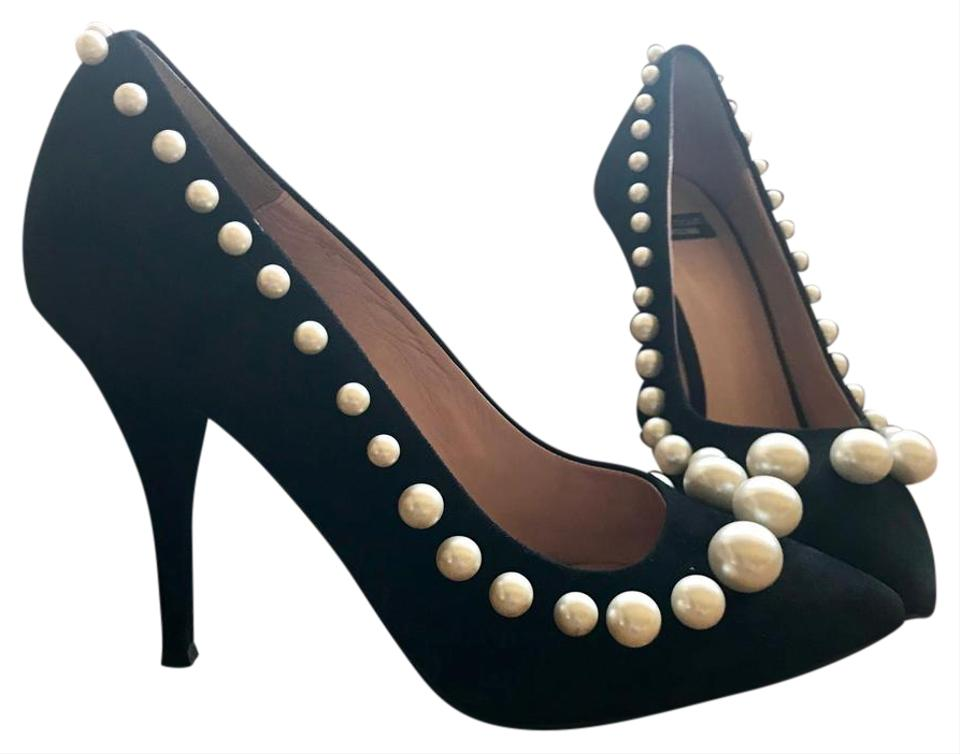 bb5a34f90902 Moschino Black Couture Pearl Pumps Size US 7 Regular (M